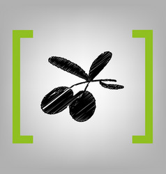 olives sign   black scribble vector image