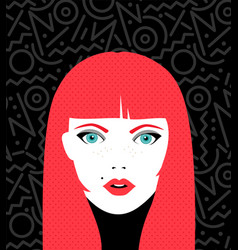 Young woman face with fashion make up vector