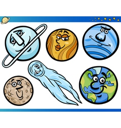 Planets and orbs cartoon characters set vector