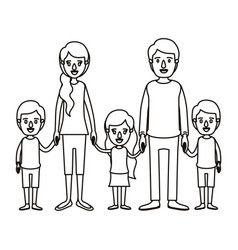 Silhouette caricature family with young parents vector