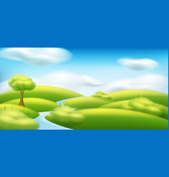 Spring-summer landscape with trees vector