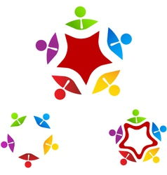 Logo group business on star vector