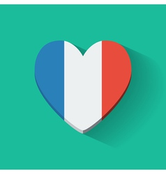 Heart-shaped icon with flag of france vector
