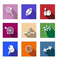 Set of flat sporting icons vector image