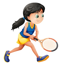 A young female player playing tennis vector