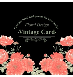 Floral greeting card with red roses vector image
