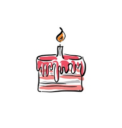Birthday cake with cream on white background vector