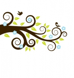 Spring tree with birds vector