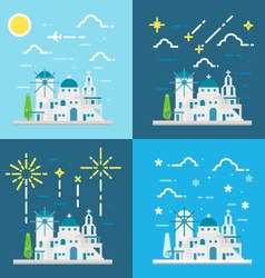 Flat design 4 styles of santorini village greece vector