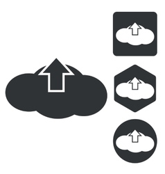 Cloud upload icon set monochrome vector