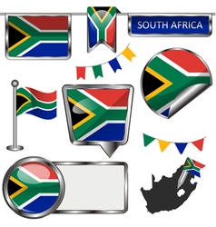 Glossy icons with South African flag vector image