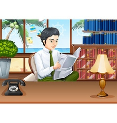 Businessman reading papers in the office vector