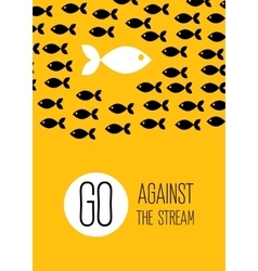 Fish swims against the stream creative yellow vector