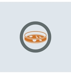 Gray-orange petri dish round icon vector