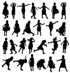 Child happy in various pose silhouette vector
