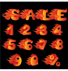 Flaming numbers percent symbol and word sale vector