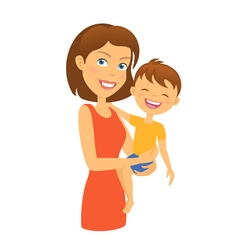 Mother with child happy family mother and son vector