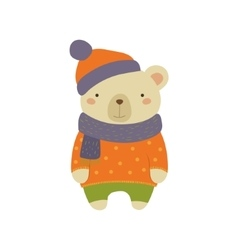 White bear in polka-dotted sweater childish vector