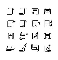 ancient paper scrolls and documents icons vector image vector image