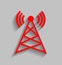 antenna sign red icon with vector image vector image