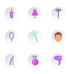 Barbershop icons set cartoon style vector
