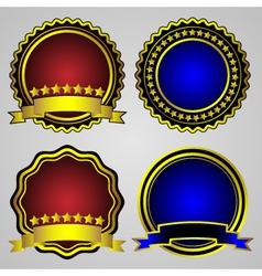 four gold-framed labels set vector image vector image