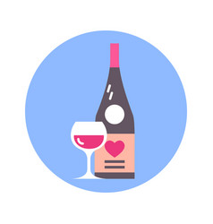 glass and bottle of wine with heart shape icon on vector image
