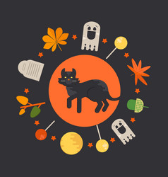 Halloween cat concept in circle shape vector