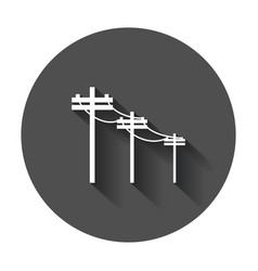 High voltage power lines electric pole icon with vector
