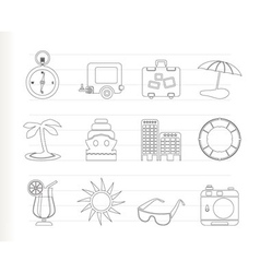 holiday and trip icons vector image vector image