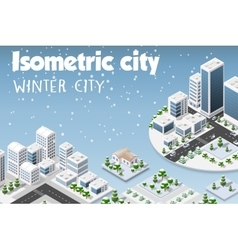 Isometric set of the modern city vector