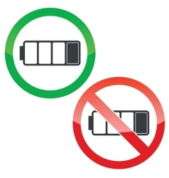 Low battery permission signs set vector