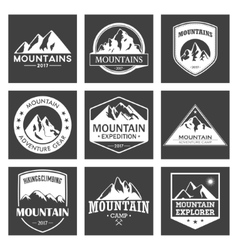 Mountain travel outdoor adventures logo set vector