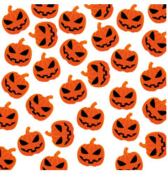 Pattern silhouette with halloween pumpkin vector