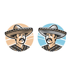 Portrait of happy mexican in sombrero logo or vector