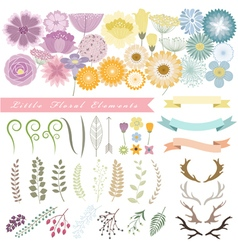 Set of floral elements 1 vector