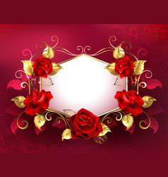 Signboard with jewelry red roses vector
