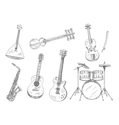 Sketchy musical instruments for arts design vector