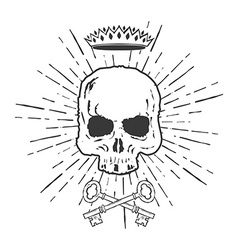 Skull with crossed keys and crown vector