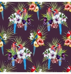 Watercolor rosella bird pattern vector