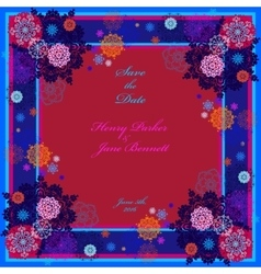 Winter wedding frame with red and blue snowflakes vector