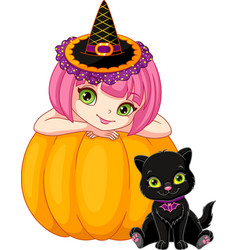 witch with kitten vector image
