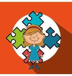 Girl kids puzzle icon vector