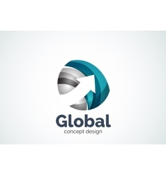 Globe with arrow logo template vector