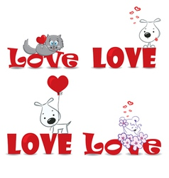 Set of animals valentine day vector