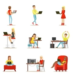 Happy people spending their time using computer vector