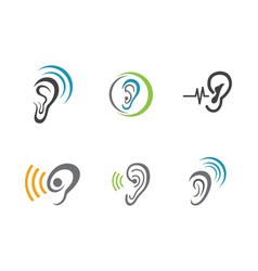 Hearing logo template icon design vector