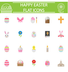 Happy easter flat icon set vector
