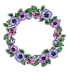 Frame of vintage botanical flowers violet pansy vector