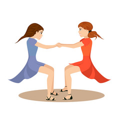 Two cute girls whirl in round dance holding hands vector